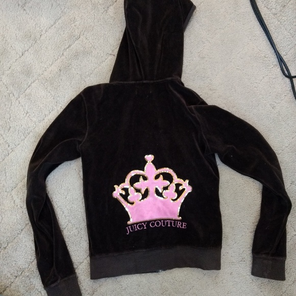 Juicy Couture crown brown velour zip up hoodie
